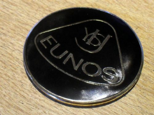 Badge, enamel, Eunos Nosecone, retro style, 55mm, black/gold